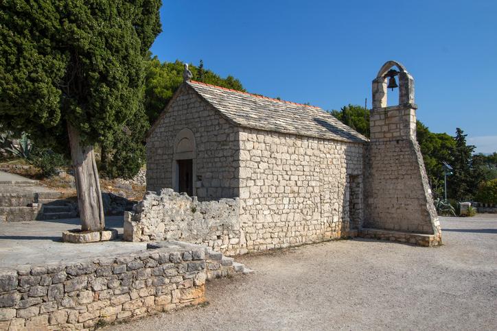 Little Saint Nicholas stone church from 13th century on Marjan hill in split Croatia