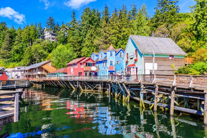 Ketchikan, Alaska. Creek Street, the historic broadwalk.
