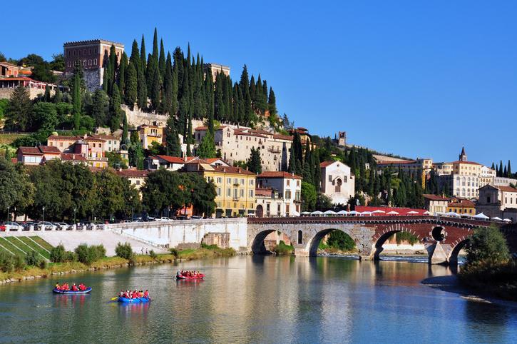 Old bridge and river in Verona, Italy