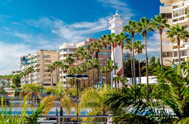 View of the Marbella resort city. Province of Malaga, Andalusia, Costa del Sol. Southern Spain