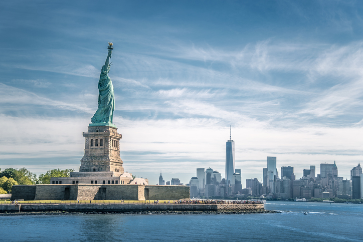 The statue of Liberty and Manhattan, New York City, USA
