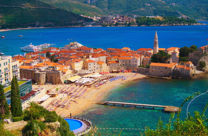 Sea view to the Old Town of Budva in Montenegro