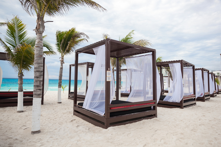 Modern wooden beach gazebo pavilion close up