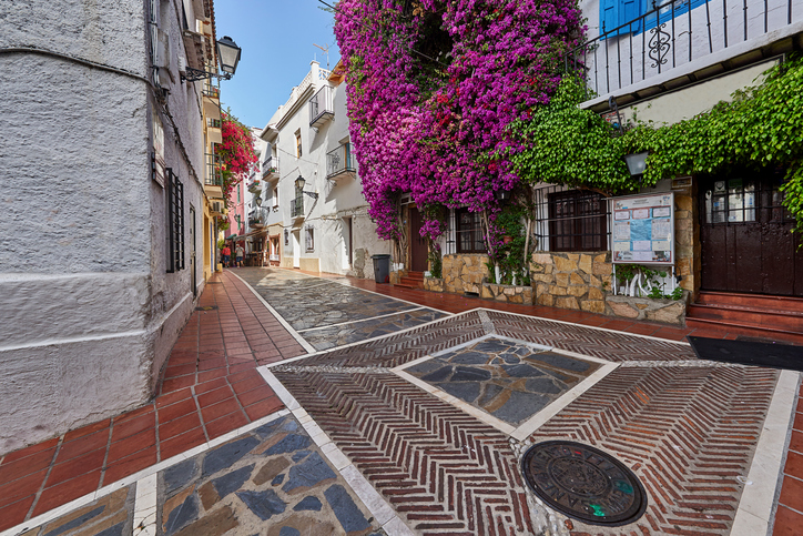 Typical Andalusian streets and balconies, with flowers in Marbella Andalucia Spain