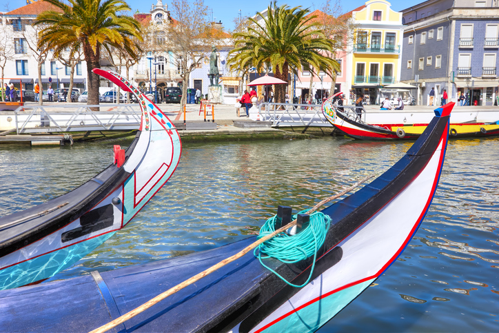 Typical Traditional boats Moliceiro in Vouga river. Aveiro, Portugal