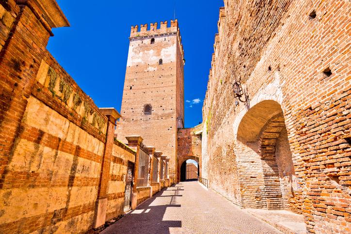 "Castelvecchio Bridge on Adige river in Verona, famous landmark in tourist destination in Veneto region of Italy""n"