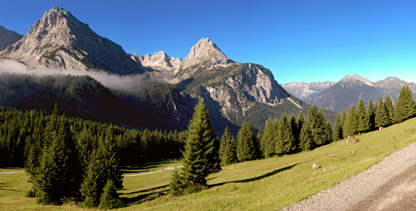 mountain landscape in the austrian alps around the area of the famous mountain mt.zugspitze