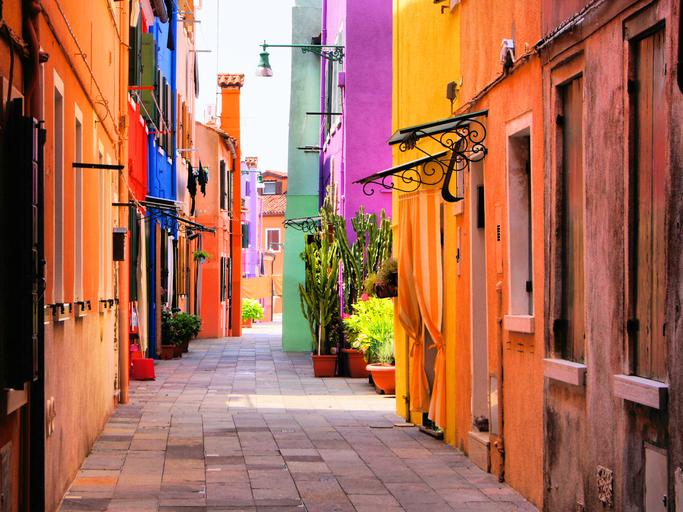 """Colorful street in Burano, near Venice, Italy"""
