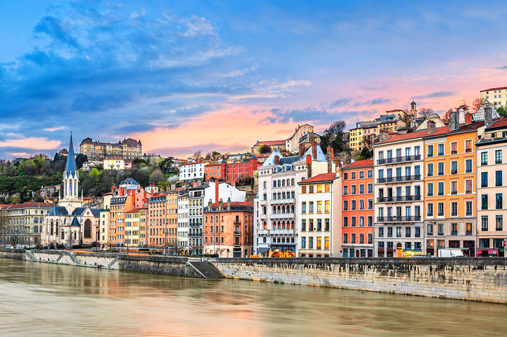 sunset on Saone river at Lyon, France