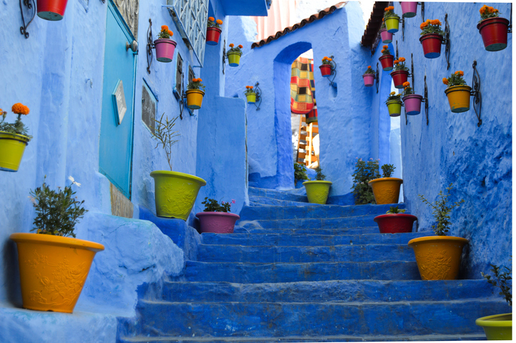Chefchaouen Street with pots