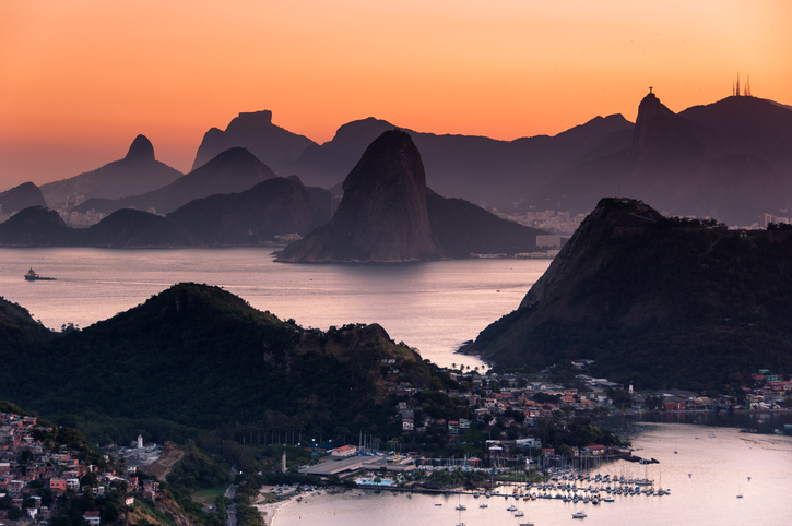 Beautiful View of Rio de Janeiro Mountains by Sunset from the City Park in Niteroi.