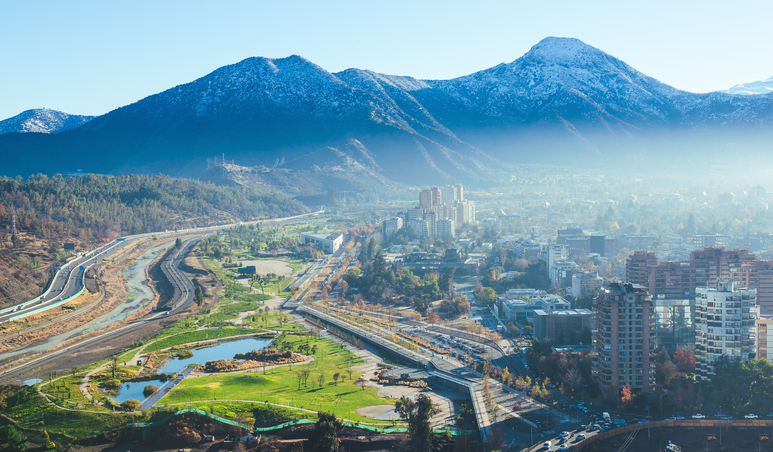 Santiago winter cityscape