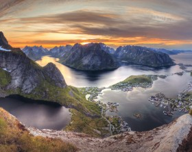 Norwegian landscape during midnight sun