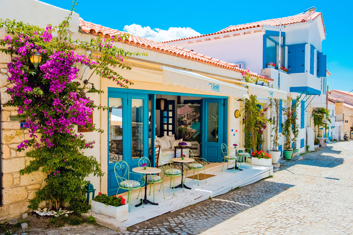 Alacati,Çesme Turkey-05 June 2016:Alacati, well known for its architecture, vineyards and windmills is a popular summer tourist destination.