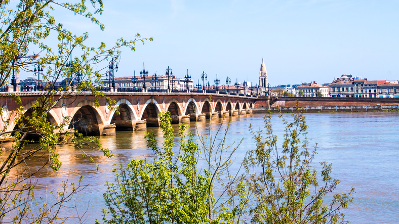 """The Pont de pierre, or """"Stone Bridge"""" over the Garonne River at Bordeaux, France"""