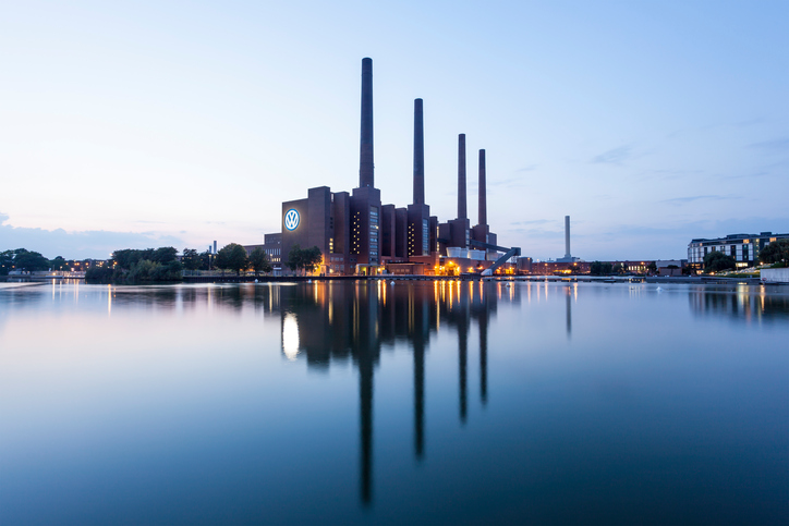 Wolfsburg, Germany - September 23, 2016: View of the old Volkswagen factory buildings illuminated at night
