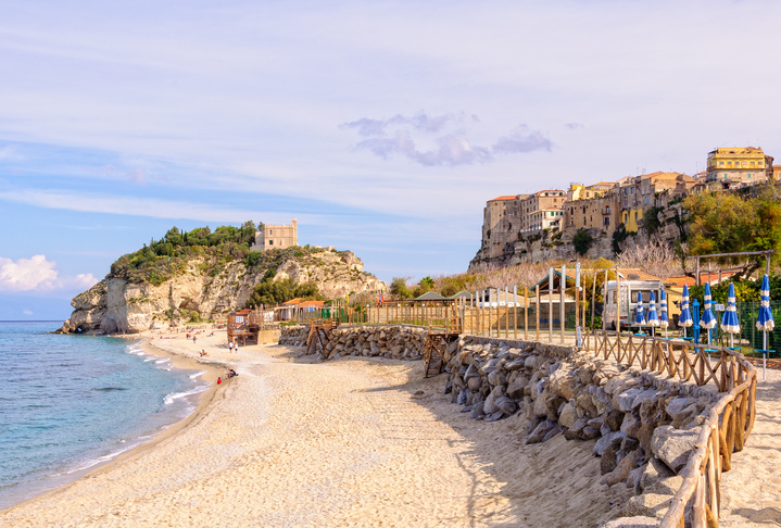 Sandy beach at the Sanctuary of Santa Maria Island - Tropea, Calabria, Italy