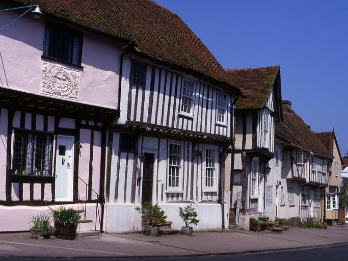 Old Half-Timbered cottages in High Street, Lavenham. Suffolk. England