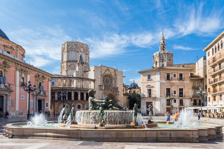 Valencia, Spain - May 14, 2016: Views of the different buildings and streets of the city of Valencia, Spain