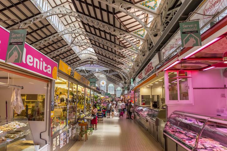 Valencia, Spain - June 12, 2017: Shops at the colorful mercado central of Valencia, Spain