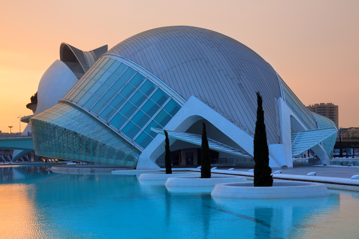 Valencia, Spain - June 29, 2012: Dawn over the futuristic architecture of the Ciutat de les Arts i de les Ciencies - City of Arts and Sciences - the the city of Valencia in the Pais Valenciano region of eastern Spain.