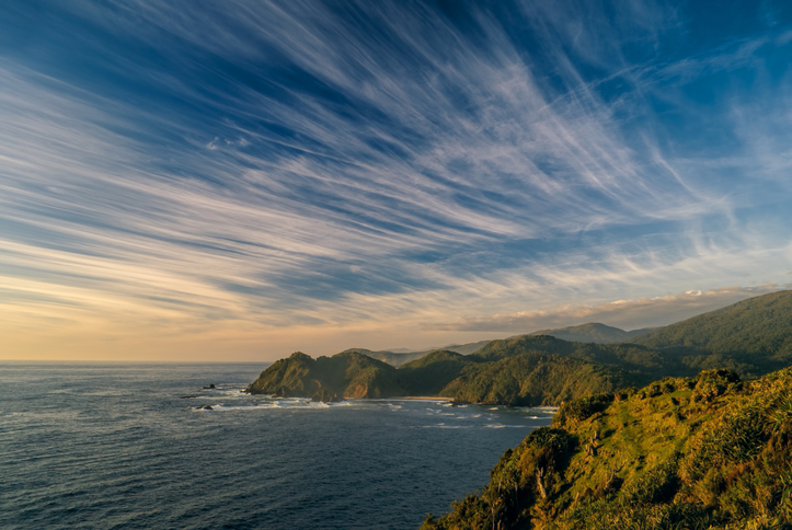 Panoramic view of the Chilean coast in Parque Nacional Chiloe