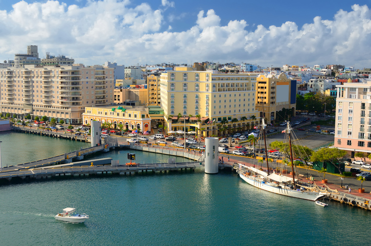 Skyline of the old city of San Juan, Puerto Rico