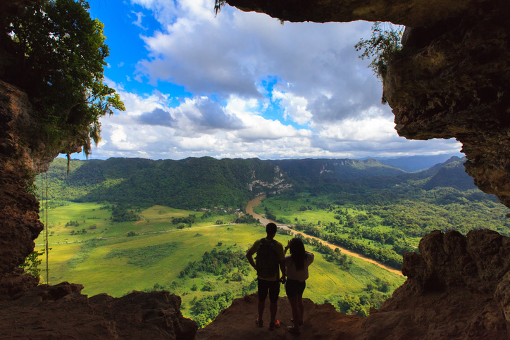 Beautiful landscape from a cave window