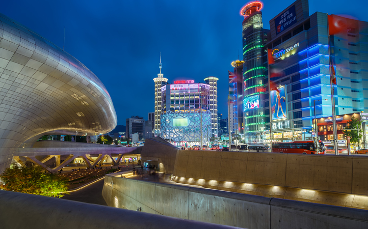 Seoul, South Korea - JUNE 13,2015: Dongdaemun Design Plaza at twilight, New development in Seoul city, designed by Zaha Hadid.