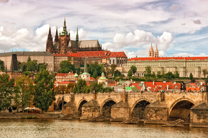 Prague castle Hradcany and Charles bridge, two of the most famous tourist attractions in Czech Republic capital city.