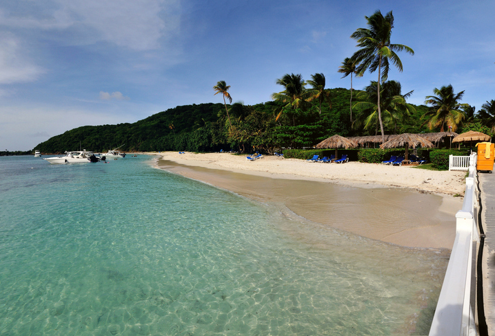 Tropical beach of Palomino island in Puerto Rico