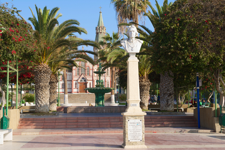 Arica, Chile - October 20, 2013: Bust of Cristobal Colon at the central square of the city of Arica on October 20, 2013 in Arica, Chile.