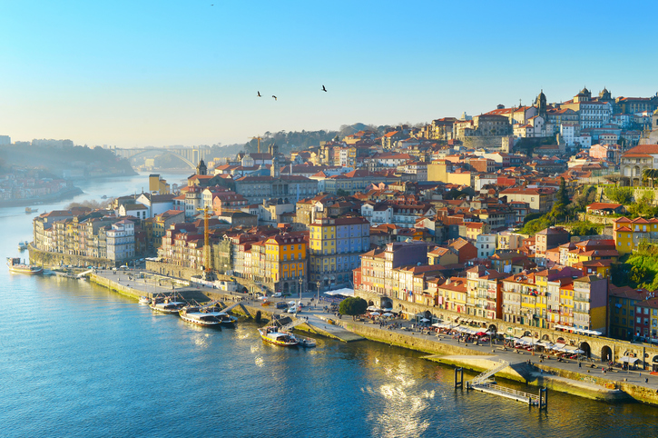 Skyline of Porto Old Town in sunset light. Portugal