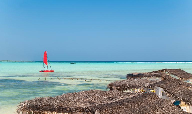 Lac Bay on Bonaire, former Netherlands Antilles.