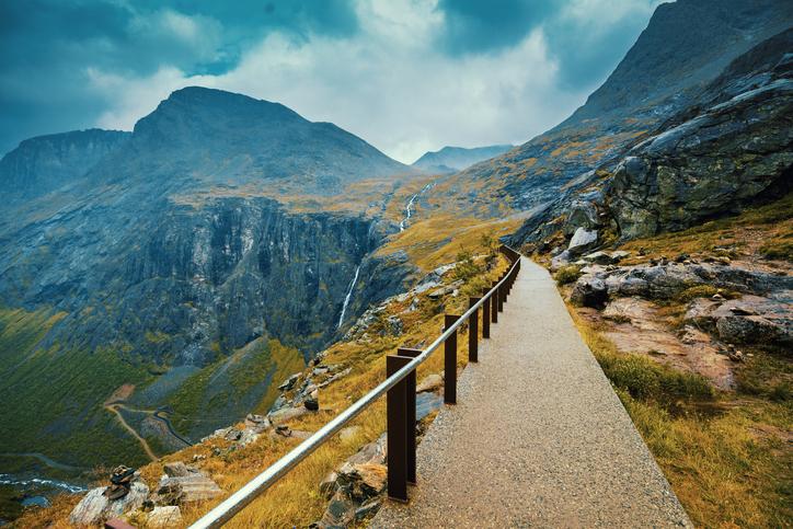 Walkway on the mountain. Trollstigen, Trolls Path, Norway