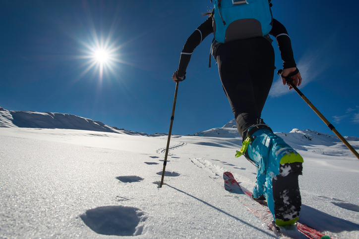 Walking with  Walking with  ski mountaineering with sealskins in mountains  in mountains toward the sun