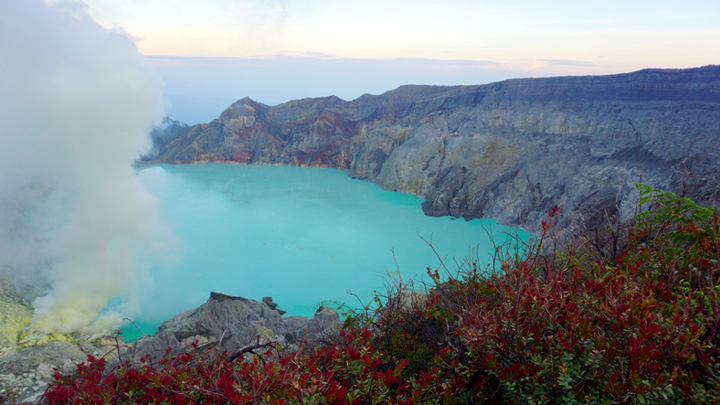 Volcanic Crater Lake of Kawah Ijen in East Java, Indonesia