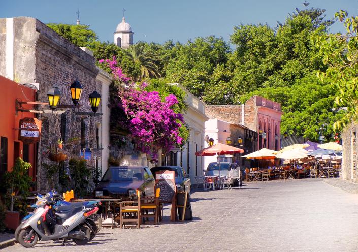 Old town street in Colonia del Sacramento, Uruguay.