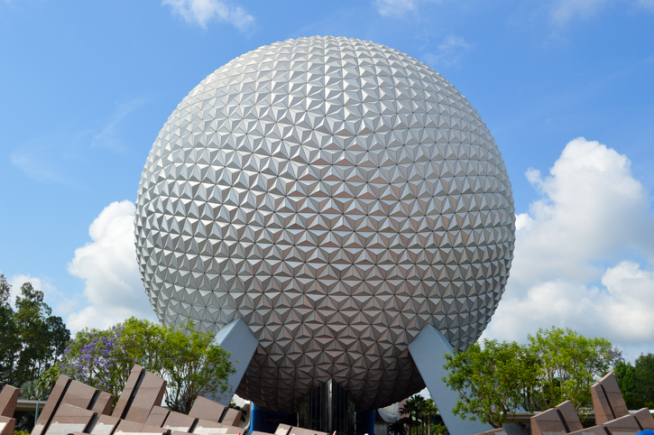 Orlando, FL, USA - 27th May 2014. This is the Spaceship Earth ride which stands at the entrance to Epcot at Walt Disney World. It is often called the golf ball because it looks like a giant golf ball from a distance.