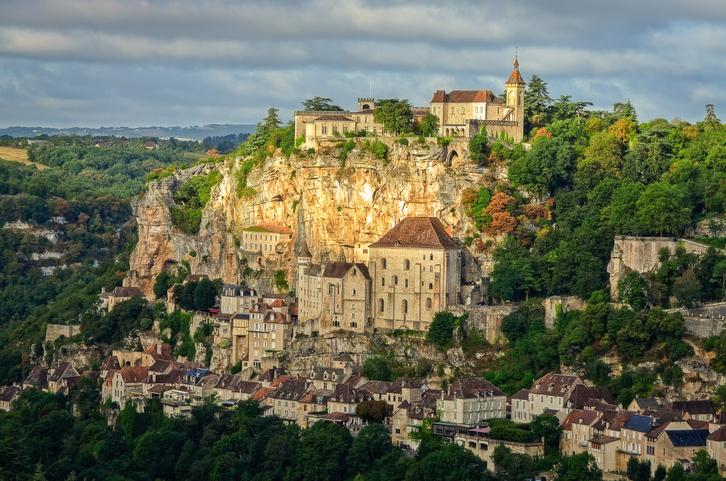 Rocamadour village wide landscape daylight view, France