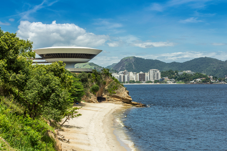 """Niteroi,Brazil - February 15, 2012: Niteroi Museum of Contemporary Art designed by famous architectOscar Niemeyer."""