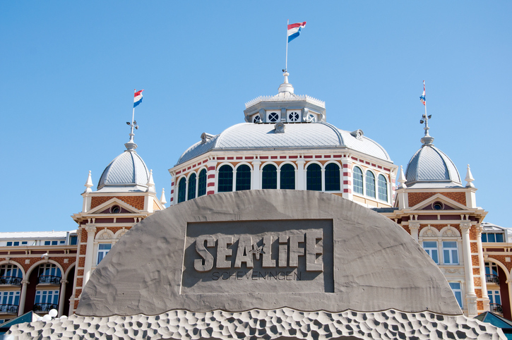 Scheveningen, The Netherlands - May 1, 2011: Sand Sculpture at the beach of Scheveningen, with Koerhuis on background