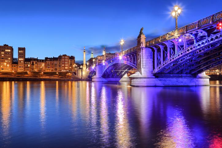 Pont de Fragnee by night in Liege, Belgium