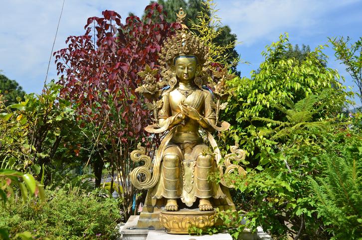 Nepal, Kathmandu, Kapan monastery, sculpture of Budda