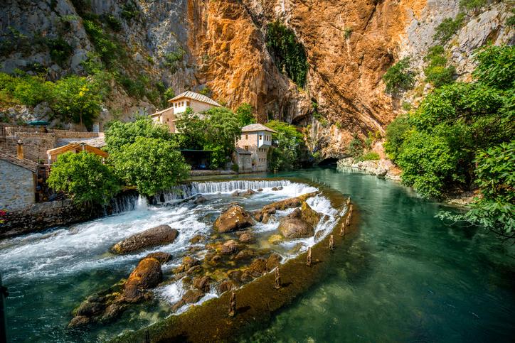 Small village Blagaj on Buna spring and waterfall in Bosnia and Herzegovina
