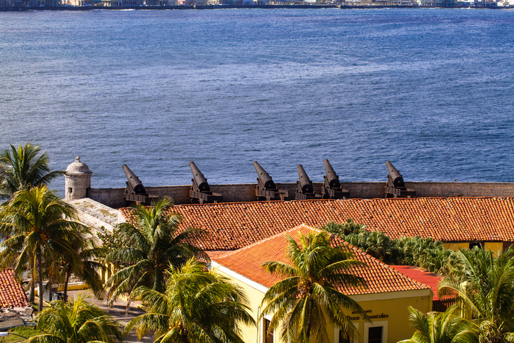 Cuba el Morro view with historic cannons in Havana Cuba and the view of the harbor