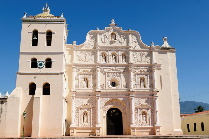 Honduras, View on the colonial Cathedral of Comayagua in Comayagua city in In Central America