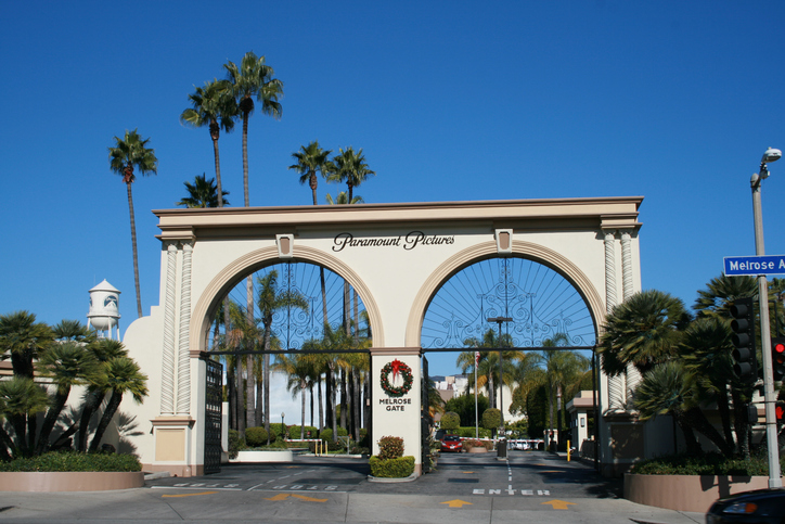 Los Angeles, California, USA - December 6, 2010: Main entry gate, 'Melrose Gate', to the Paramount Pictures studio lot on Melrose Avenue, Hollywood, Los Angeles, California, USA