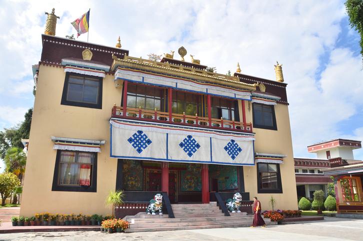 Kathmandu, Nepal - October, 11, 2013, Nepal  Scene: monk going to Kapan monastery in Kathmandu