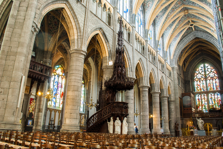 the beautiful and bright cathedral of Liege in Belgium
